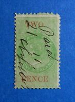 1867 2d NEW ZEALAND STAMP DUTY REVENUE BAREFOOT# 84 USED DIE I PERF 10   CS33136