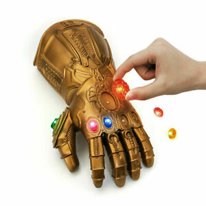 Avengers Thanos Iron Man Infinity Cosplay Gauntlet Stone Removable LED Gloves WE