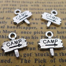 20pcs DIY Charms Word Camp Guidepost Tibetan Beads Pendant Silver 12x13mm