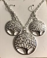 """NEW! Silver Tree Of Life 16"""" Women's Necklace & Earrings Fashion Jewelry Set!"""