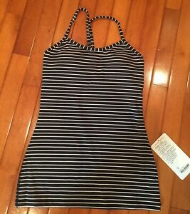 NWT Lululemon 4 Power Y Tank PSBW Black white stripe Built in Bra Athletic Top