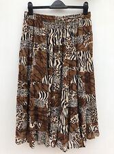 TAYBERRY Leopard Tiger Zebra Midi Skirt Size M - L UK 12 -14 Crinkle Cotton