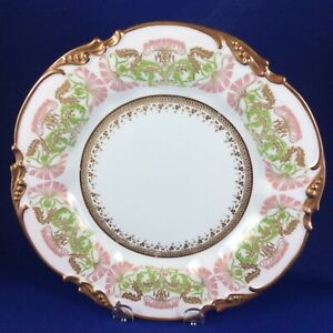 "Limoges Jean Pouyat 9.5"" Pink Honeysuckle Porcelain Dinner Plate"