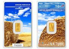 1g Argor Heraeus Goldbarren 1 Gramm 9999 Natur, Weizen, Geschenk