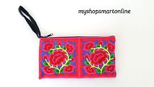 Ethnic embroidery handmade pencil case purse pouch wallet handle strap women