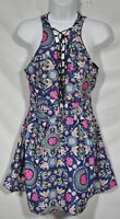 EMVIE'S FASHIONS Blue Multicolor Floral PRint Sleeveless Dress 4 Lace-Up Front
