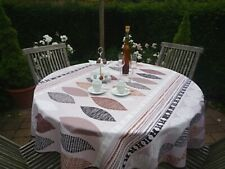 Tablecloth Provence 160 CM Round Beige Blattmotive from France Easy-Care