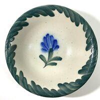 "Salmon Falls Stoneware Pottery 7"" Bowl Salt Glaze Blue Flower Green Border"