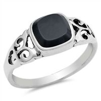 Sterling Silver Square Black Onyx Filigree Ring - Free Gift Packaging