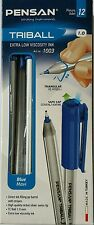 12 Excellent Quality Blue Ballpoint Pens. Nickel-swiss tip Triangular. Easy Grip