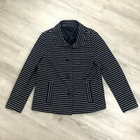 Talbots Blazer Jacket Womens Large Blue white Striped Button Up Long Sleeve