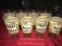 """8 SHINER TEXAS BEER TOAST OUR TROOPS Digital Camo Pint Glass Tumbler 16 oz 5¾"""""""