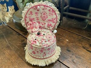 Antique Vintage Vanity Chair Stool Pin Cushion with Pink Bird Fabric & Lace Trim