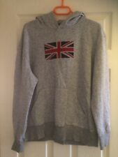 Mens/Boys Grey Union Jack Hoodie From Primark, Size L  Pre Owned Good Condition