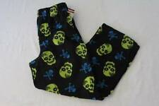 NEW Boys Fleece Lounge Pants Medium 8 - 10 Black Green Skulls Pockets Pajamas PJ
