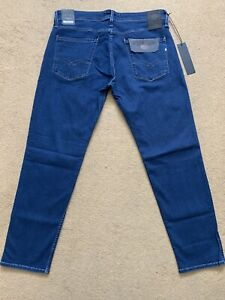 """REPLAY Anbass Power Stretch Men's Slim Fit Blue Jeans, Size W36"""", L32"""", £145"""