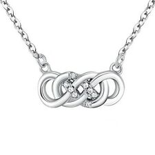DOUBLE INFINITY- Eternity- Solid 925 Sterling silver necklace-CZ-Extension chain