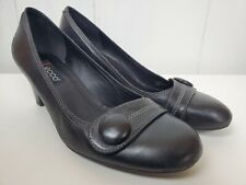 Ecco Heels Size 40 Classic Black Leather Pumps Button