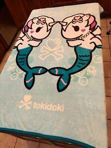 "Tokidoki Agua Blue with 2 Mermaids Warm & Cozy Super Cute Throw Blanket 45""X63"""
