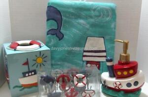 Kids Novelty NAUTICAL Bath DYR Tug Boat Set with Authentic Sounds Curtain Hooks+