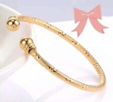 Yellow Gold Plated Cuff Baby Girl Bangle Bracelet Newborn Gift Indian Jewelry