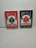 Lot of 2 NEW Vtg Bicycle Jumbo Index 88 Poker Playing Cards Red/Blue USA Made