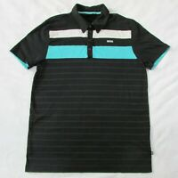 Men's MINI Cooper Polo Short Sleeve Shirt Black & Teal Striped Men's L
