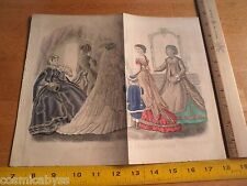 Godey's Fashion Feb 1868 color fold out ladies bridal formal dress Kimmel page