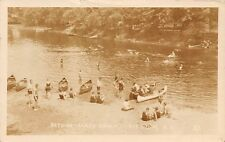 N.J. Bathing Sandy Beach Mt. View, Canoe, Boats 1928 real photo canoe