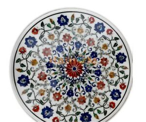 """24"""" Marble Center Coffee Table Top Lapis Cranelian Floral Inlay Home Decor W084A"""