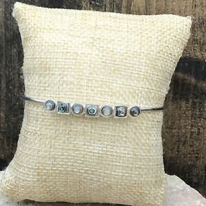 Barse Jovial Linear Cuff Bracelet- Abalone & Silver Overlay- NWT