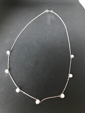 DQ CZ Sterling Silver Necklace with Cubic Zirconium Stones Made in Korea