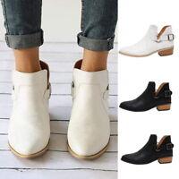Damen Leder Stiefel Stiefeletten Ankle Boots Schuhe Blockabsatz Freizeitschuhe
