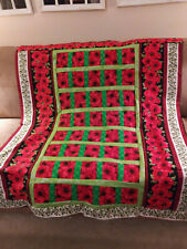 New listing Beautiful red poppies quilt handmade Lap Made in America pinklady cottage