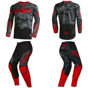 O'Neal Element Camo Red Jersey Pants motocross dirt bike MX off-road gear combo