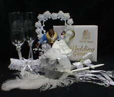 Disney Beauty and the Beast Wedding Cake Topper lot Glasses, server set book top