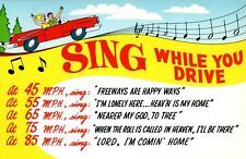 Sing While You Drive 45 55 65 75 85 mph Funny Vintage Postcard Convertible car