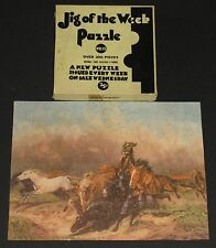 """VINTAGE JIGSAW PICTURE PUZZLE JIG OF THE WEEK #15 """"WILD HORSES"""" MUSTANG HERD CIB"""