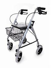 SR8 Folding 4 Wheeled Safety Rollator Walking Frame Seat Tray  Basket WA006SIL
