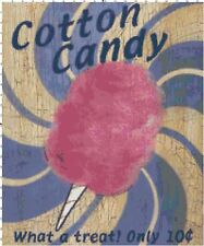 Retro Cotton Candy Ad Sign DIGITAL Counted Cross Stitch Pattern Needlepoint