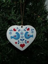 Scandinavian Folk Art Heart with Birds Christmas Ceramic Ornament #ORNH569