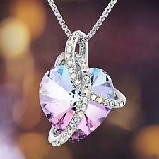 Jewelry Love Heart Pendant Necklace Chain Swarovski Crystal Women Fashion Gift