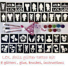 GLITTER TATTOO KIT LOL DOLLS 8 glitters 1 glue brushes OR REFILLS drop down menu
