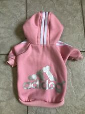 "New listing Adidog Pink Cotton Dog Jacket Shirt Hoodie Button Style Size Xl Girth-21"""