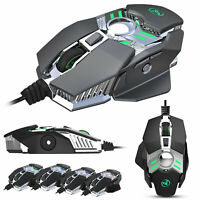 LED USB Wired Gaming Mouse Adjustable Optical Mice For PC Computers Laptops