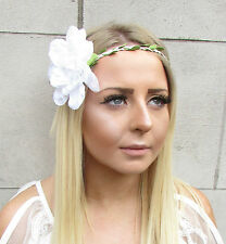 Large White Dahlia Flower Headband Hair Crown Festival Boho Floral Garland 1542
