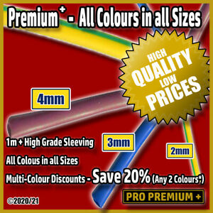 Mains Cable PVC Over-Sleeving Insulation Brown, Blue, Green & Yellow 2,3,4mm 1m+