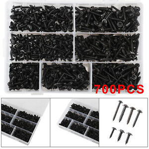Assorted Box of Black Self Tapping Screws 700 Pozi Flanged Workshop Tappers DIY