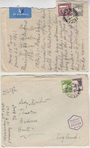 PALESTINE 1940/41 2x CENSORED covers *HAIFA-ENGLAND* with hexagonal censor marks