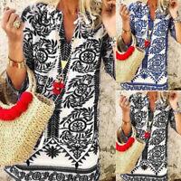 ZANZEA UK Women Summer Half Sleeve V Neck Beach Mini Dress Casual Loose Sundress